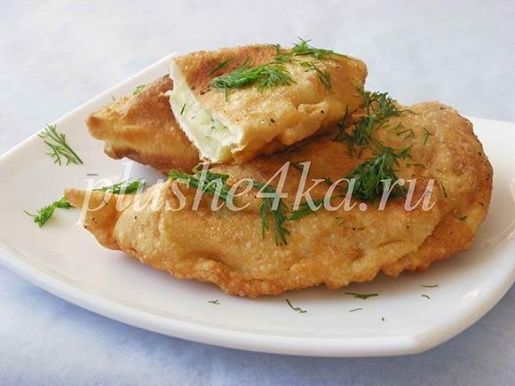Чебуреки с картошкой, жареные на сковороде