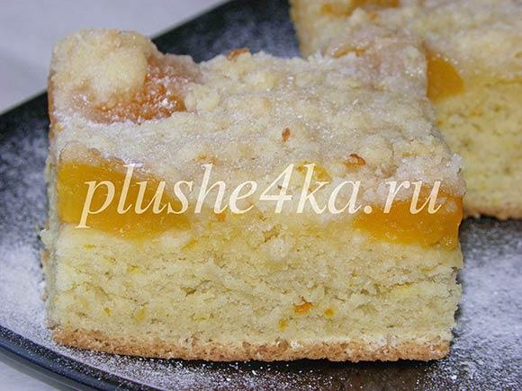 Открытый пирог с абрикосами из песочного теста