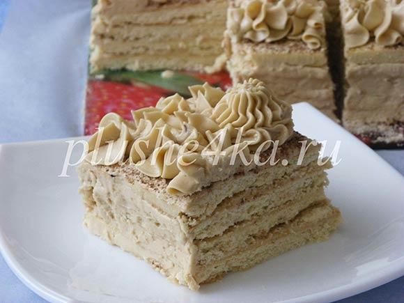 Торт из песочного теста с масляным кремом со сгущенкой