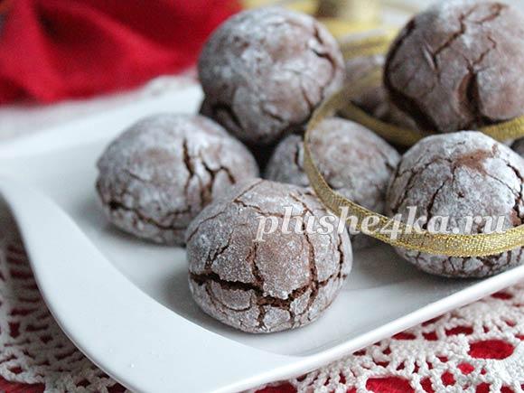 Печенье с трещинками с шоколадом и какао