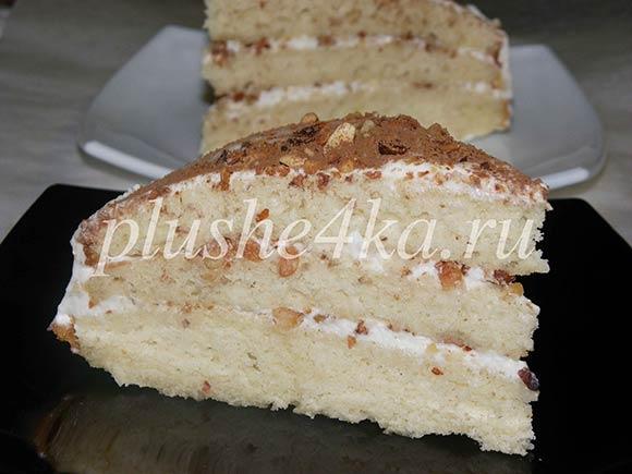 Простой торт на кефире со сметанным кремом