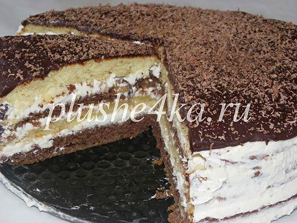 Торт с масляным кремом со сгущенкой и орехами