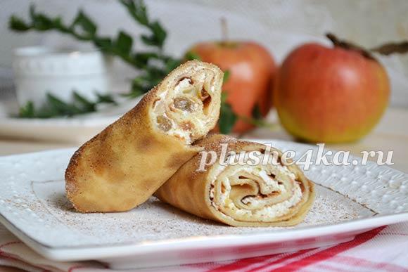 Блинчики с начинкой из творога и яблок