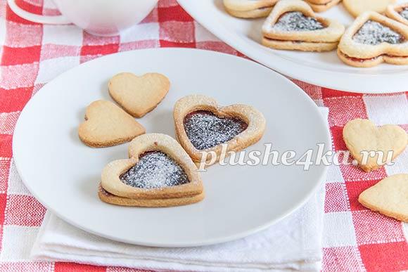 Песочное печенье «Сердечки» с джемом