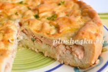Пирог с горбушей и рисом из дрожжевого теста