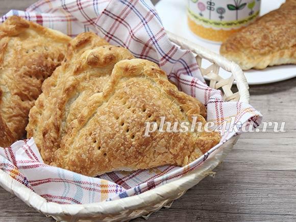Пирожки с мясом из слоеного теста