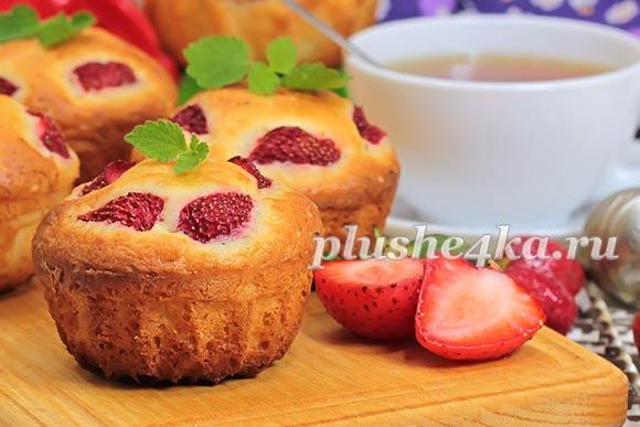 Творожные кексы с клубникой