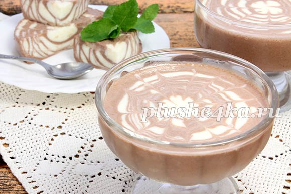 Желе из сметаны с желатином и какао